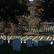 Arlington National Cemetery, in Arlington County, Virginia, is directly across the Potomac River and the Lincoln Memorial. U.S. war casualties, and deceased veterans, of the nation's conflicts beginning with the American Civil War, are interred in this cemetery.  <br />