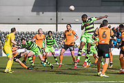 Forest Green Rovers Dale Bennett(2) heads the ball misses the target during the EFL Sky Bet League 2 match between Barnet and Forest Green Rovers at The Hive Stadium, London, England on 7 April 2018. Picture by Shane Healey.
