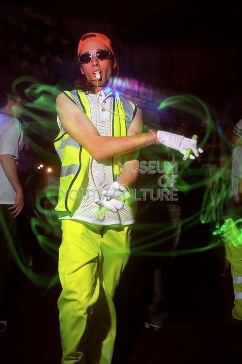 Guy dressed in luminous yellow, 10/5/1997 Hardcore Heaven.