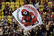 Sydney fans during the A-League - Wellington Phoenix v Western Sydney football match at Westpac Stadium in Wellington on Sunday the 10 April 2016. Copyright Photo by Marty Melville / www.Photosport.nz