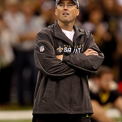 November 21, 2010; New Orleans, LA, USA; New Orleans Saints offensive coordinator Pete Carmichael Jr. during warm ups prior to kickoff of a game against the Seattle Seahawks at the Louisiana Superdome. The Saints defeated the Seahawks 34-19. Mandatory Credit: Derick E. Hingle