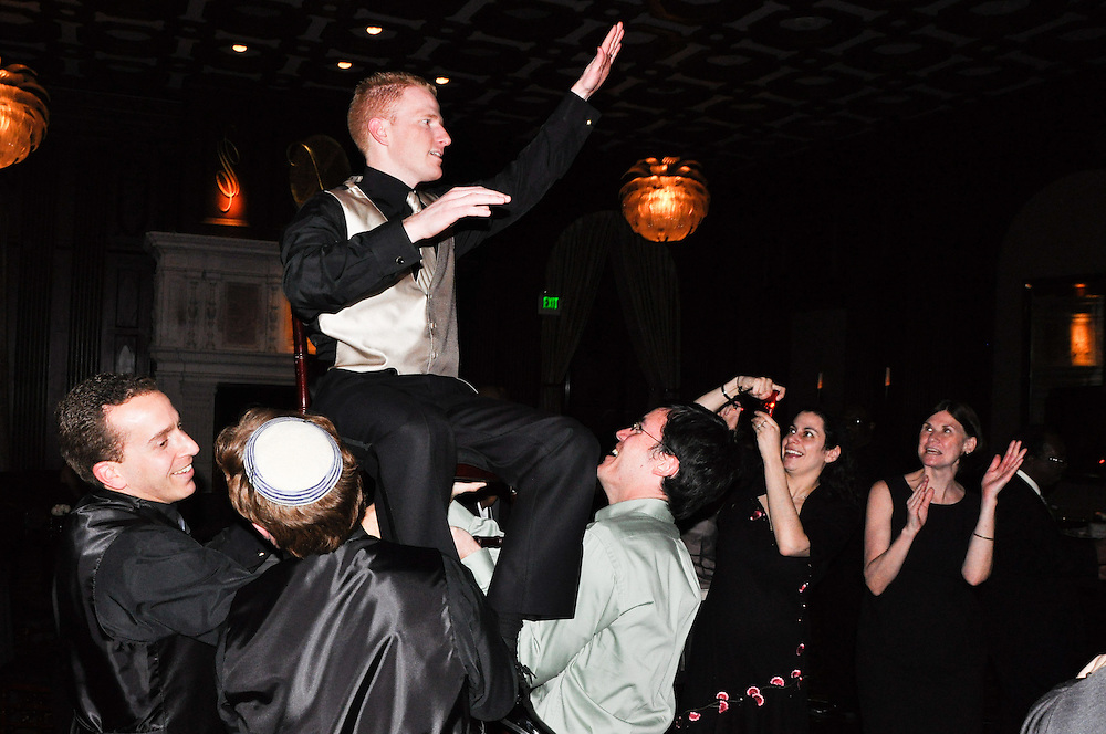 Noam gets hoisted for the hora dance, Julia Morgan Ballroom, Merchant's Exchange, San Francisco