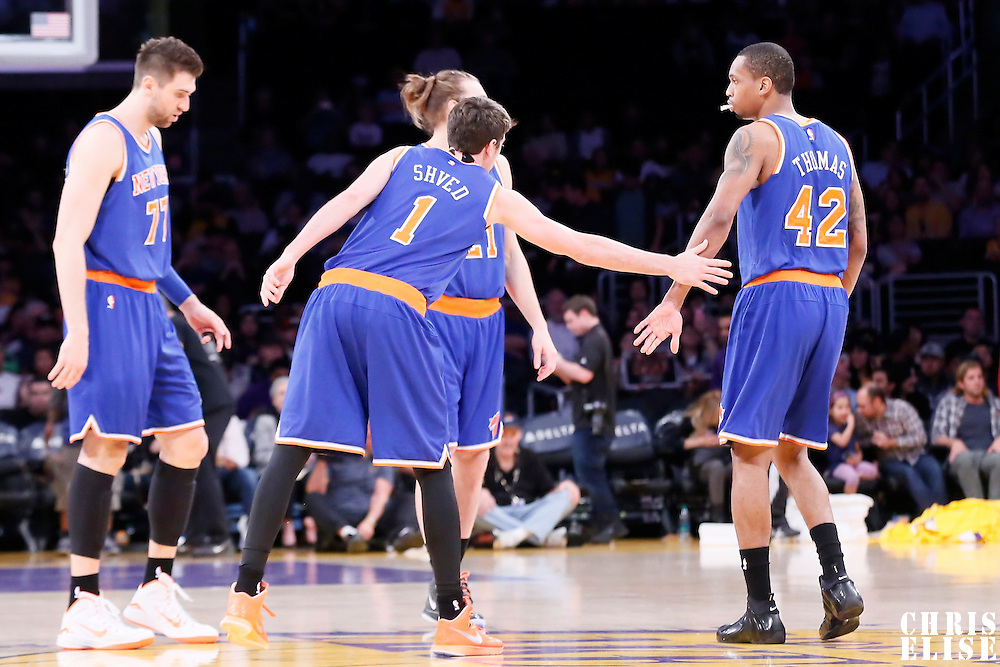 12 March 2015: New York Knicks guard Alexey Shved (1), New York Knicks center Andrea Bargnani (77), New York Knicks forward Lance Thomas (42), New York Knicks forward Lou Amundson (21) are seen during the New York Knicks 101-94 victory over the Los Angeles Lakers, at the Staples Center, Los Angeles, California, USA.