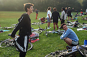 Early morning on a Saturday. Deborah Mosley stretches before embarking on a mini-triathalon at Tilden park in Oakland...Photo by Jason Doiy.9-25-04.026-2004
