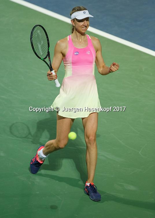 MONA BARTHEL (GER) macht die Faust und jubelt nach ihrem Sieg,Jubel,Freude,Emotion<br /> <br /> Tennis - Dubai Tennis Championships 2017 -  WTA -  Dubai Duty Free Tennis Stadium - Dubai  -  - United Arab Emirates  - 20 February 2017.