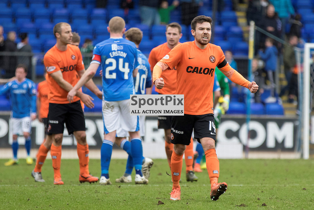Dundee Utd's Ryan Dow shows his delight at the final whistle.St Johnstone v Dundee Utd, Scottish Premier League, 02 April 2016.