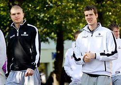 Edo Muric, Goran Dragic of National basketball team of Slovenia walking at Laisves Al. in Kaunas city centre during FIBA Europe Eurobasket Lithuania 2011, on September 14, 2011, in Kaunas, Lithuania.  (Photo by Vid Ponikvar / Sportida)