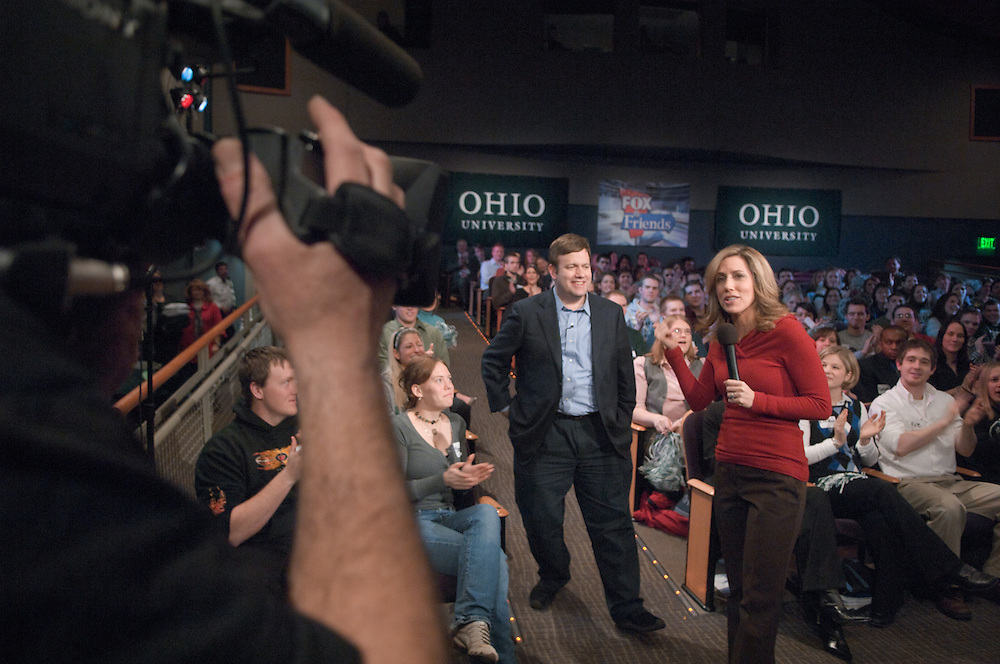 18585FOX News at Ohio University in Baker Center Theater on March 5, 2008.. Alisyn Camerota, and national pollster Frank Luntz