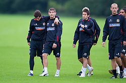 CARDIFF, WALES - Friday, September 5, 2008: Wales' Gareth Bale and Ched Evans during training at Vale of Glamorgan Hotel ahead of the second 2010 FIFA World Cup South Africa Qualifying Group 4 match against Russia. (Photo by David Rawcliffe/Propaganda)