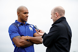 Tom Varndell of Bristol Rugby is interviewed as Local Junior Schools compete in a Tag Rugby Competion - Mandatory byline: Rogan Thomson/JMP - 07966 386802 - 14/07/2015 - SPORT - RUGBY UNION - Bristol, England - Durdham Downs -  Webb Ellis Cup visits Bristol as part of the 2015 Rugby World Cup Trophy Tour
