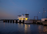 Jamestown-Scotland Ferry on the James River at Dusk. Crossing from Surry County to James City County.