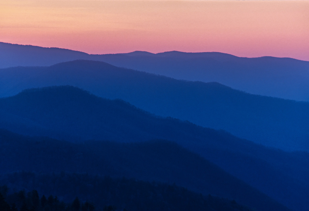 Post sunset on the mountain ridges at the Great Smoky Mountains National Park, Tennessee