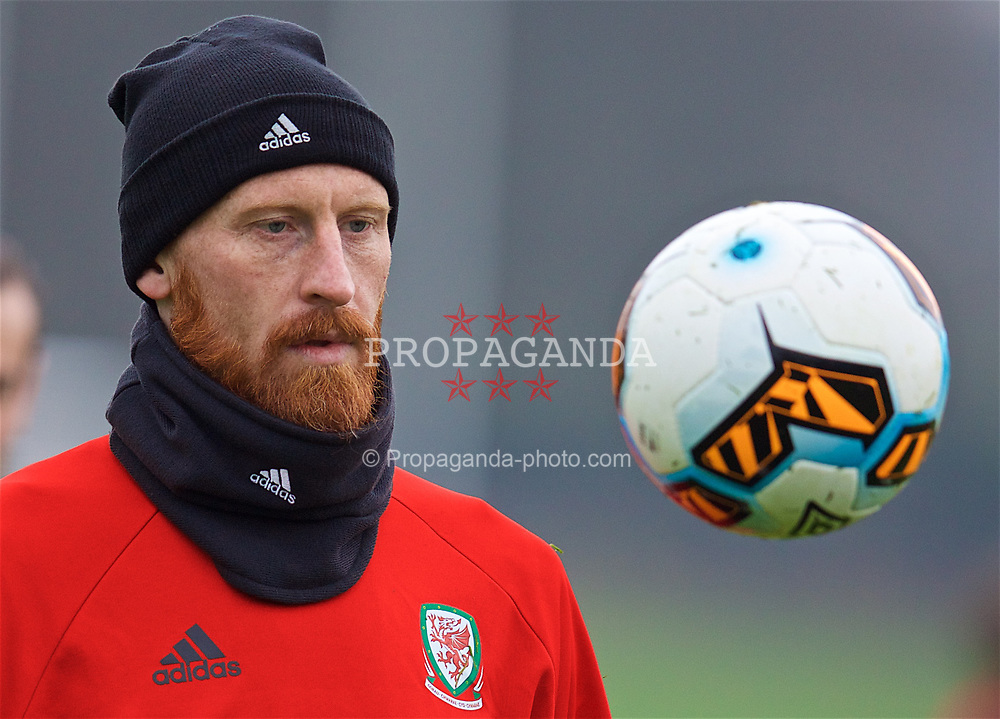 CARDIFF, WALES - Thursday, March 23, 2017: Wales' James Collins during a training session at the Vale Resort ahead of the 2018 FIFA World Cup Qualifying Group D match against Republic of Ireland. (Pic by David Rawcliffe/Propaganda)