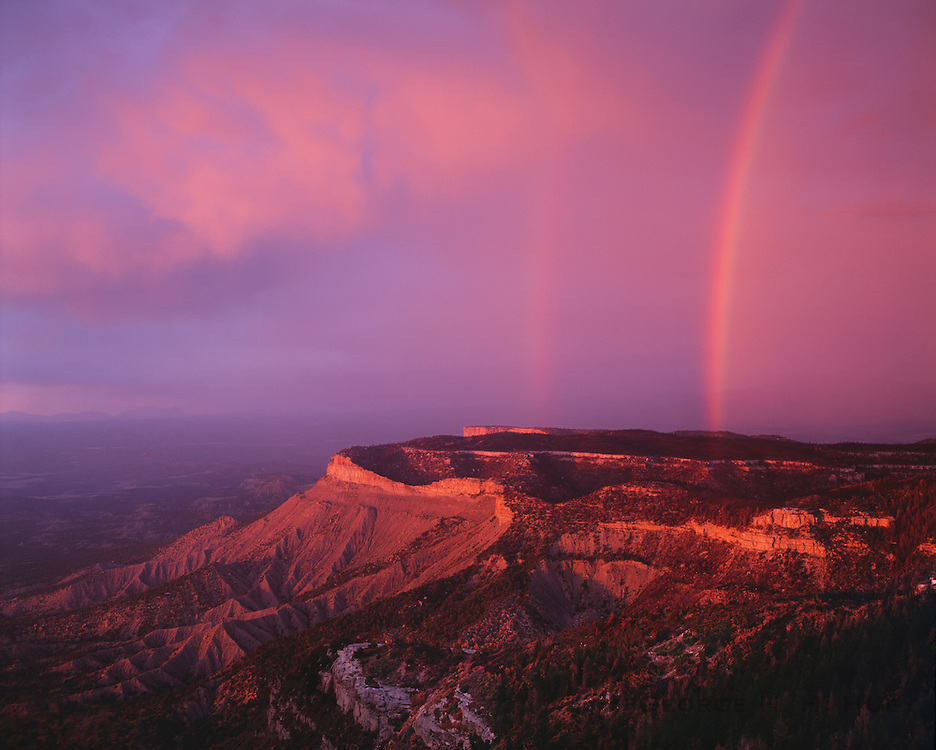 0405-1123NF ~ Copyright: George H. H. Huey ~ Overview of the north side of the Mesa Verde with storm at sunset. Mesa Verde National Park, Colorado.