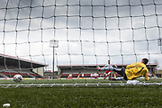 Dykehead winning penalty - Dundee Argyle v Dykehead AFC in the Scottish Sunday Trophy semi final at Excelsior Stadium, Airdrie, Photo: David Young<br /> <br />  - &copy; David Young - www.davidyoungphoto.co.uk - email: davidyoungphoto@gmail.com
