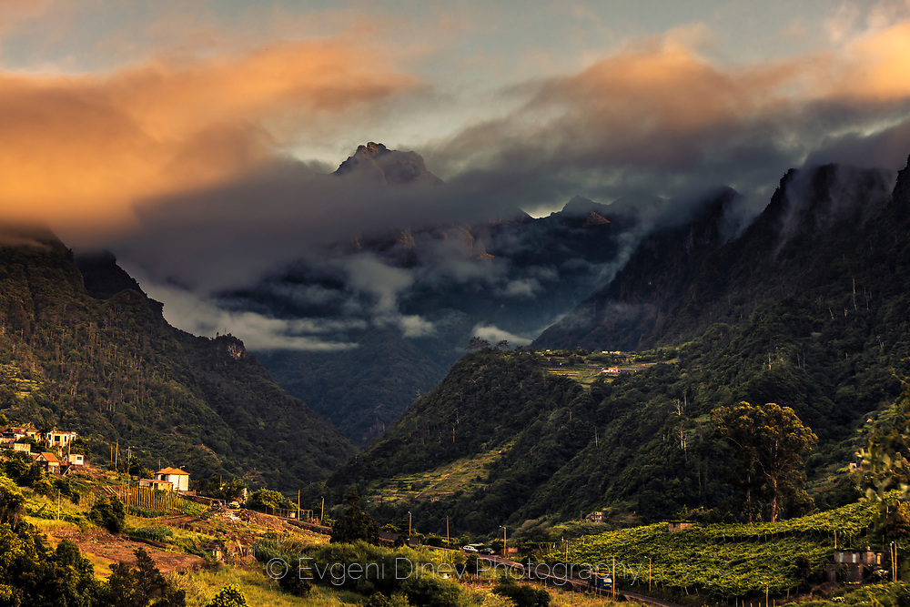 Splendid mountain peak in clouds on Madeira island