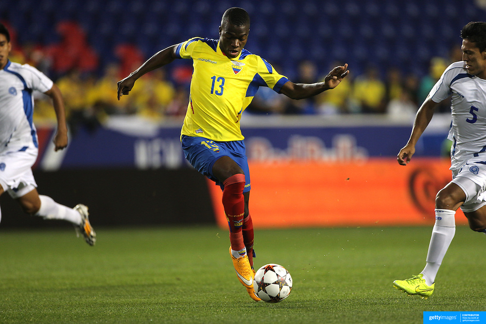 Enner Valencia, Ecuador, in action during the Ecuador Vs El Salvador friendly international football match at Red Bull Arena, Harrison, New Jersey. USA. 14th October 2014. Photo Tim Clayton
