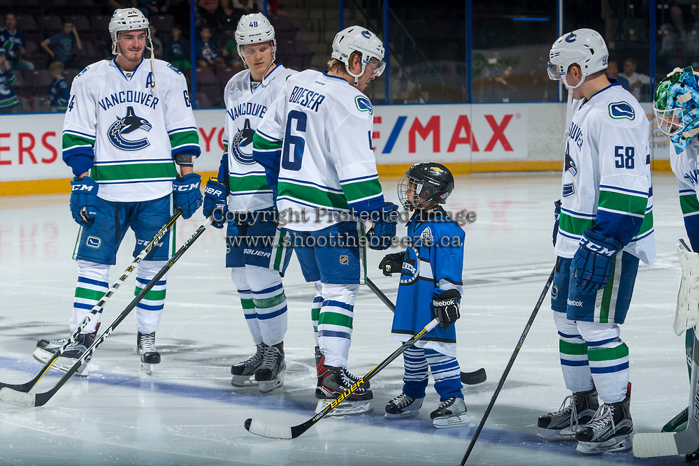 PENTICTON, CANADA - SEPTEMBER 8: The seventh player lines up with the Vancouver Canucks on September 8, 2017 at the South Okanagan Event Centre in Penticton, British Columbia, Canada.  (Photo by Marissa Baecker/Shoot the Breeze)  *** Local Caption ***