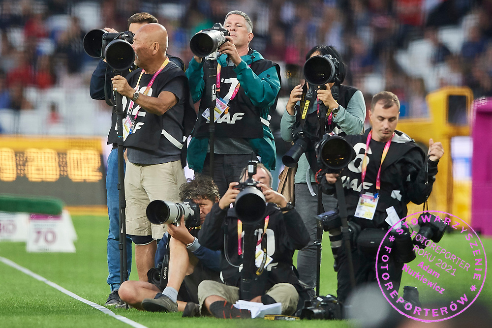 Great Britain, London - 2017 August 07: Photographers Jiro Mochizuki (Shot Agency) and Kuba Wojciech Atys (Gazeta Wyborcza Daily) work during IAAF World Championships London 2017 Day 4 at London Stadium on August 07, 2017 in London, Great Britain.<br /> <br /> Mandatory credit:<br /> Photo by &copy; Adam Nurkiewicz<br /> <br /> Adam Nurkiewicz declares that he has no rights to the image of people at the photographs of his authorship.<br /> <br /> Picture also available in RAW (NEF) or TIFF format on special request.<br /> <br /> Any editorial, commercial or promotional use requires written permission from the author of image.