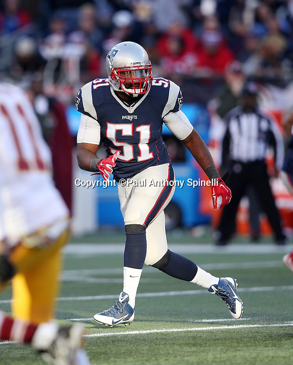 New England Patriots middle linebacker Jerod Mayo (51) chases the action during the 2015 week 9 regular season NFL football game against the Washington Redskins on Sunday, Nov. 8, 2015 in Foxborough, Mass. The Patriots won the game 27-10. (©Paul Anthony Spinelli)