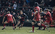 Dragons' Jared Rosser mounts his attack.<br /> <br /> Photographer Simon Latham/Replay Images<br /> <br /> Guinness PRO14 - Dragons v Edinburgh - Friday 23rd February 2018 - Eugene Cross Park - Ebbw Vale<br /> <br /> World Copyright &copy; Replay Images . All rights reserved. info@replayimages.co.uk - http://replayimages.co.uk
