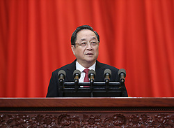 Yu Zhengsheng, chairman of the National Committee of the Chinese People's Political Consultative Conference (CPPCC), delivers a report on the work of the CPPCC National Committee's Standing Committee at the fourth session of the 12th CPPCC National Committee at the Great Hall of the People in Beijing, capital of China, March 3, 2016. The fourth session of the 12th CPPCC National Committee opened in Beijing on March 3. EXPA Pictures © 2016, PhotoCredit: EXPA/ Photoshot/ Pang Xinglei<br /><br />*****ATTENTION - for AUT, SLO, CRO, SRB, BIH, MAZ only*****