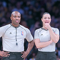 16 November 2014: NBA referee Courtney Kirkland is seen next to Lauren Holtkamp during the Golden State Warriors 136-115 victory over the Los Angeles Lakers at the Staples Center, Los Angeles, California, USA.