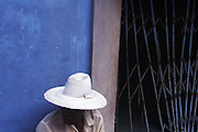 22 Aug 1996, Havana, Cuba --- Man Wears White Straw Hat --- Image by © Jeremy Horner/CORBIS