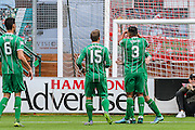 Celtic FC Forward Leigh Griffiths celebrates his goal during the Ladbrokes Scottish Premiership match between Hamilton Academical FC and Celtic at New Douglas Park, Hamilton, Scotland on 4 October 2015. Photo by Craig McAllister.