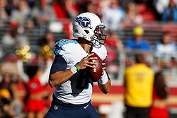 SANTA CLARA, CA - DECEMBER 17: Quarterback Marcus Mariota #8 of the Tennessee Titans stands in the pocket against the San Francisco 49ers during the first quarter at Levi's Stadium on December 17, 2017 in Santa Clara, California.  (Photo by Jason O. Watson/Getty Images) *** Local Caption *** Marcus Mariota