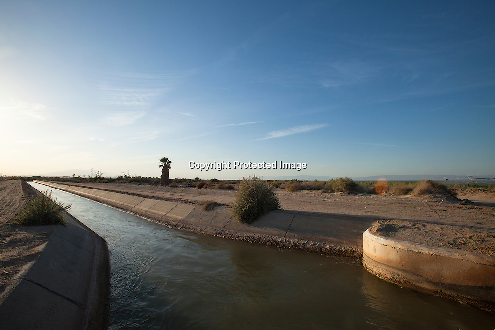 Water from the Colorado river running in this irrigation canal in the Imperial Valley located in Southen California.