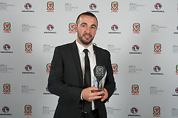 CARDIFF, WALES - Monday, October 5, 2015: Bangor City's Sion Edwards with the Welsh Premier League Clubman of the Year Award during the FAW Awards Dinner at Cardiff City Hall. (Pic by Ian Cook/Propaganda)