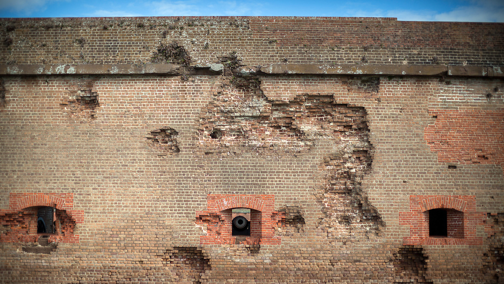 COCKSPUR ISLAND, GA. - FEBRUARY 21, 2018: Shell marks from the bombardment of Fort Pulaski still show the damage by Union troops. (WABE Photo/Stephen B. Morton)