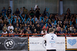 Supporters of OK Calcit Volley during 3rd Leg volleyball match between OK Calcit Volley and Salonit Anhovo in Semifinal of 1. DOL Slovenian National Championship 2017/18, on April 15, 2018 in Sports hall Kamnik, Kamnik, Slovenia. Photo by Urban Urbanc / Sportida