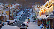 Berks Co., Reading, PA, 15th and Muhlenburg Streets. sunrise, snowy morning