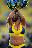 A Hurriacnes cheerleader entertains the crowd before kickoff. Super 15 rugby match - Hurricanes v Highlanders at Westpac Stadium, Wellington, New Zealand on Friday, 18 February 2011. Photo: Dave Lintott/PHOTOSPORT/SPORTZPICS