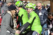 Strade Bianche gara per professionisti a Siena,a sinistra la giornalista Stefania De Stefano e Moreno Moser, 7 Marzo 2015 © foto Daniele Mosna