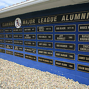 The A's major league alumni is honored at Municipal Stadium in Clarinda, with their names on the back of the home dugout.  photo by David Peterson