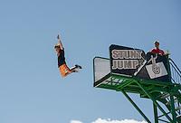 Sage Chapman from Rhode Island takes his best Stunt Jump off the high platform at Gunstock Mountain Resort.  (Karen Bobotas/for the Laconia Daily Sun)