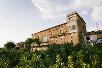 """ACCIAROLI, ITALY - 14 SEPTEMBER 2018: A view of the Hotel La Scogliera, where Ernest Hemingway stayed in 1951, in Acciaroli, a small fishing village  in the municipality of Pollica, Italy, on September 14th 2018. During his stay in Acciaroli, Ernest Hermingway drew inspiration for his masterpiece """"The Old Man and the Sea"""".<br /> <br /> To understand how people can live longer throughout the world, researchers at University of California, San Diego School of Medicine have teamed up with colleagues at University of Rome La Sapienza to study a group of 300 citizens, all over 100 years old, living in Acciaroli (Pollica), a remote Italian village nestled between the ocean and mountains in Cilento, southern Italy.<br /> <br /> About 1-in-60 of the area's inhabitants are older than 90, according to the researchers. Such a concentration rivals that of other so-called blue zones, like Sardinia and Okinawa, which have unusually large percentages of very old people. In the 2010 census, about 1-in-163 Americans were 90 or older."""