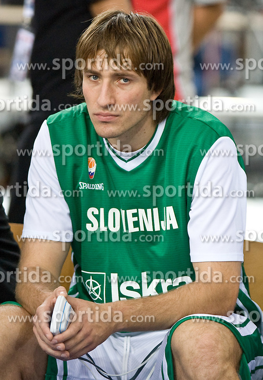Matjaz Smodis (8) of Slovenia before the EuroBasket 2009 Group F match between Slovenia and Poland, on September 14, 2009 in Arena Lodz, Hala Sportowa, Lodz, Poland.  (Photo by Vid Ponikvar / Sportida)