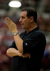 March 20, 2010; Stanford, CA, USA; UC Riverside Highlanders head coach John Margaritis during the first half against the Stanford Cardinal in the first round of the 2010 NCAA womens basketball tournament at Maples Pavilion. Stanford defeated UC Riverside 79-47.