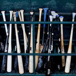 Feb 23, 2013; Lakeland, FL, USA; A detail of bats in the dugout before a spring training game between the Detroit Tigers and the Toronto Blue Jays at Joker Marchant Stadium. Mandatory Credit: Derick E. Hingle-USA TODAY Sports