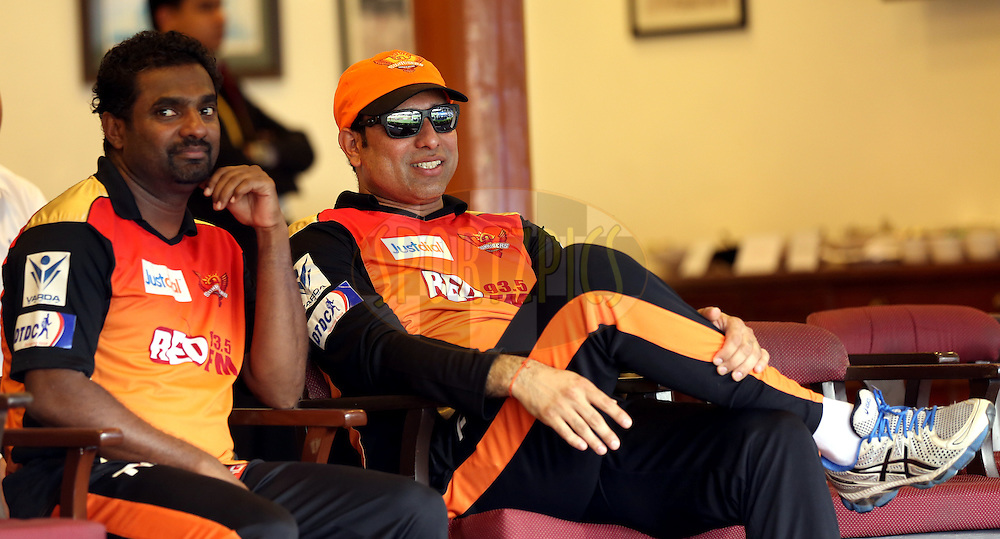 Muttiah Muralitharan Sunrisers Hyderabad coach and  V. V. S. Laxman mentor of Sunrisers Hyderabad during match 41 of the Pepsi IPL 2015 (Indian Premier League) between The Rajasthan Royals and The Sunrisers Hyderabad held at the Brabourne Stadium in Mumbai, India on the 7th May 2015.<br /> <br /> Photo by:  Sandeep Shetty / SPORTZPICS / IPL