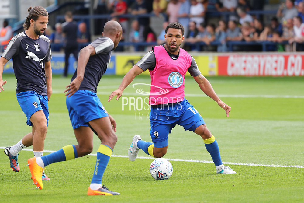 AFC Wimbledon striker Andy Barcham (17) warming up during the EFL Sky Bet League 1 match between AFC Wimbledon and Doncaster Rovers at the Cherry Red Records Stadium, Kingston, England on 26 August 2017. Photo by Matthew Redman.