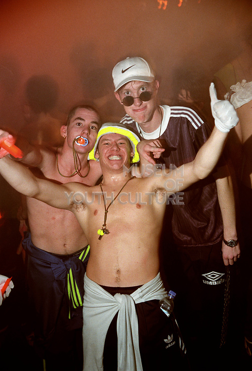 Three men at a rave, United Dance, 11/11/1996