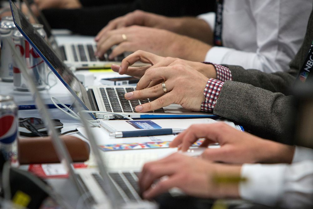 Reporters working the keyboards at the debate. The Democrate and Republican nominees for US President, Hillary Rodham Clinton and Donald John Trump, met on Sep. 26th for the first head to head Presidential Debate at the Hofstra University in Long Island.