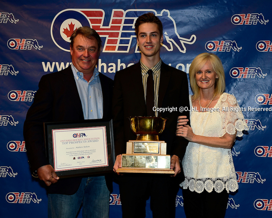 TORONTO, ON - Jun 5, 2015 : Ontario Hockey Association 2014-2015 Awards from the Hockey Hall of Fame in Toronto Ontario Canada, Ontario Hockey Association Top Prospect Award based on the National Hockey League Draft List recipient, Goaltender Mathew Robson of the Toronto Patriots Hockey Club.  <br /> (Photo by Andy Corneau / OJHL Images)