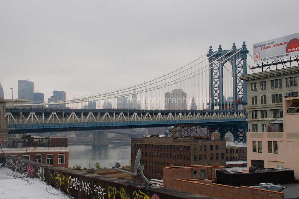 Rooftop view of the Manhattan Bridge from DUMBO Brooklyn