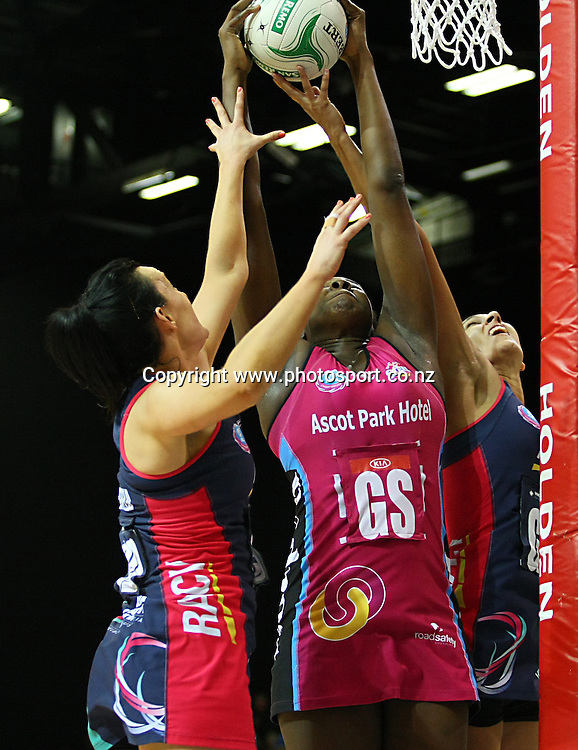 Steels Jhaniele Fowler-Reid grabs the rebound in the ANZ championship netball match, Steel v Vixens, ILT Stadium Southland, Invercargill, New Zealand, Saturday, May 31, 2014. Photo: Dianne Manson / www.photosport.co.nz